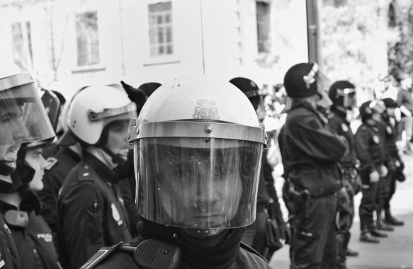 Eye to Eye: Anti Riot Police in General Strike in Spain